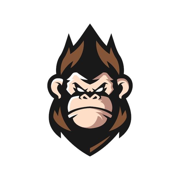 Logo della mascotte della scimmia Vettore Premium