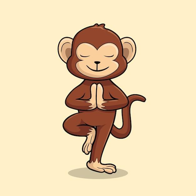 Monkey yoga cartoon chimp vrikshasana pose tree Vettore Premium