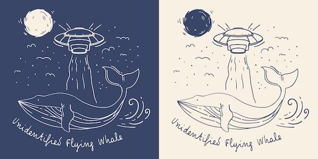 Balena di linea mono con illustrazione di ufo. balena volante non identificata. Vettore Premium