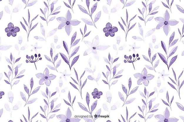 Sfondo di fiori viola dell'acquerello monocromatico Vettore Premium