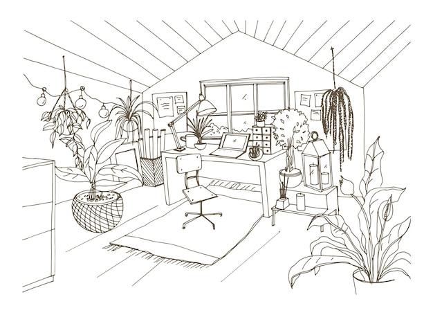 Disegno monocromatico di un'accogliente mansarda arredata in moderno stile hygge scandinavo e decorata con ghirlande luminose, candele e piante in vaso Vettore Premium