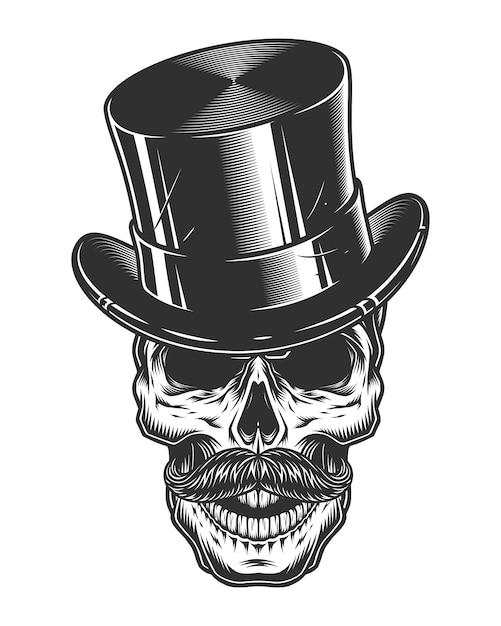 Illustrazione monocromatica del cranio con cappello a cilindro e baffi Vettore Premium