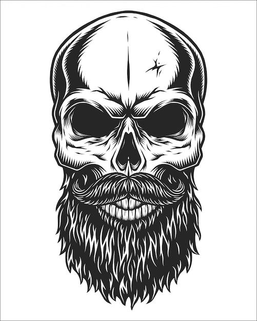 Illustrazione monocromatica del cranio Vettore Premium