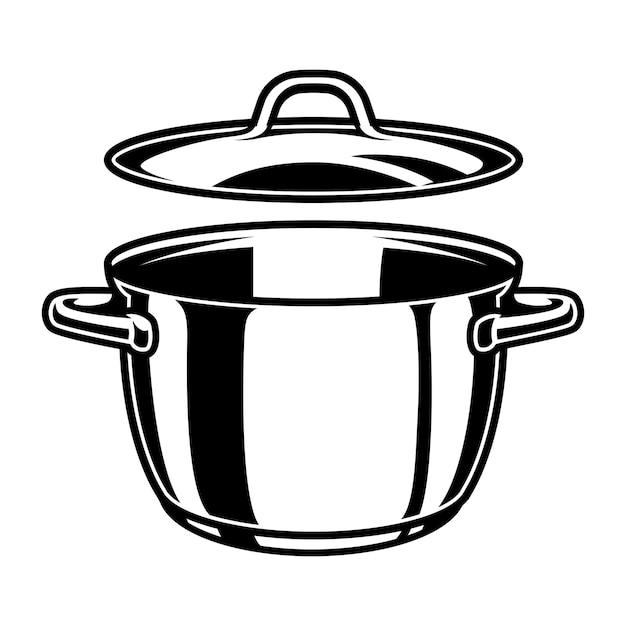 Pentola da cucina monocromatica Vettore Premium