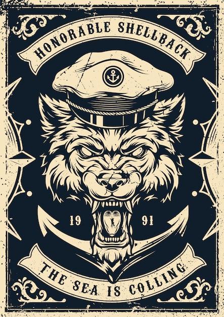 Poster vintage nautico monocromatico Vettore Premium