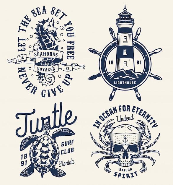 Distintivi marini e marini monocromatici Vettore Premium