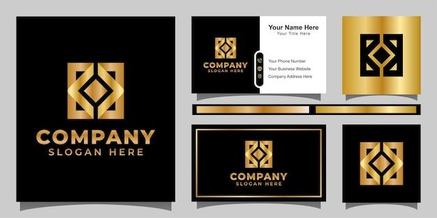 Logo aziendale quadrato creativo monogramma, lettera dorata k con design del logo quadrato con biglietto da visita Vettore Premium