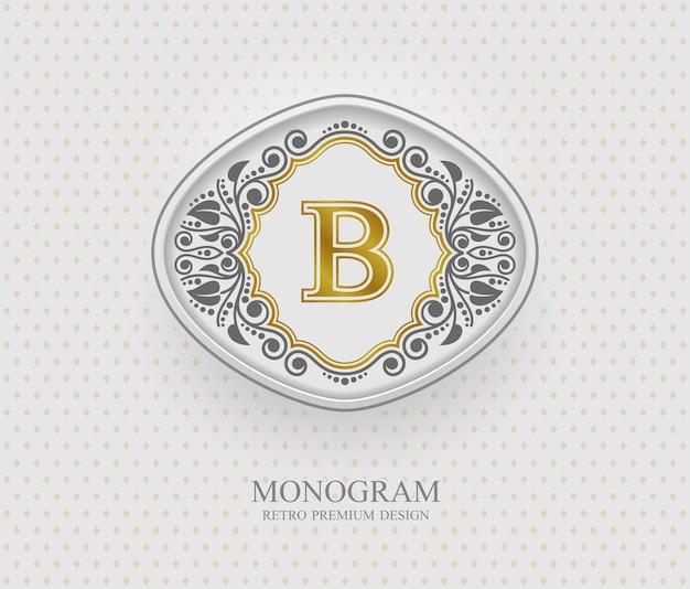Elementi di disegno del monogramma, modello grazioso calligrafico, emblema della lettera b, Vettore Premium