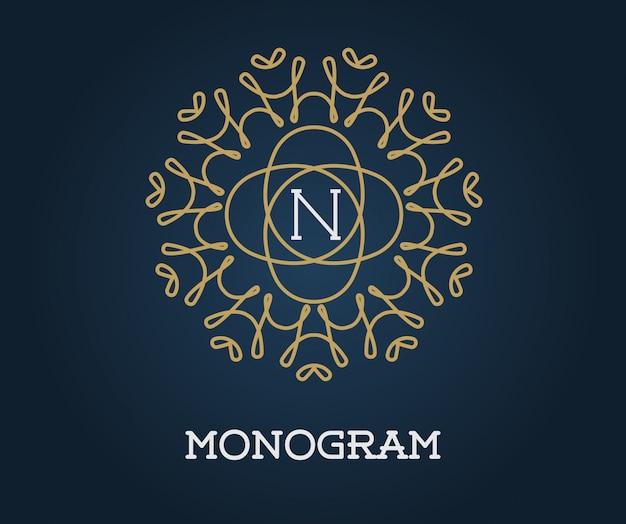Modello di disegno monogramma con lettera illustrazione premium elegante qualità oro su blu navy Vettore Premium