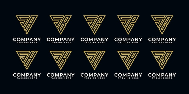 Set monogramma logo se ecc Vettore Premium