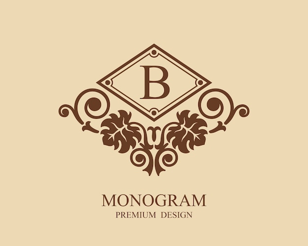 Monogramma logo modello vintage Vettore Premium