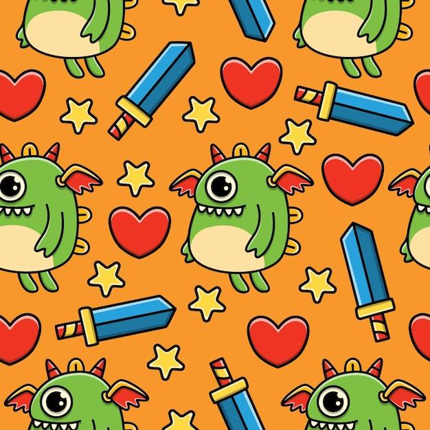Monster cartoon doodle seamless pattern design Vettore Premium