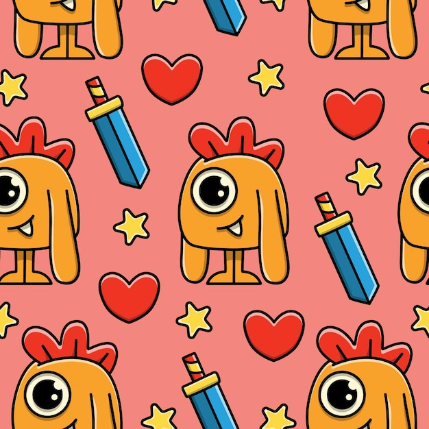 Monster cartoon doodle seamless pattern design Vettore Premium