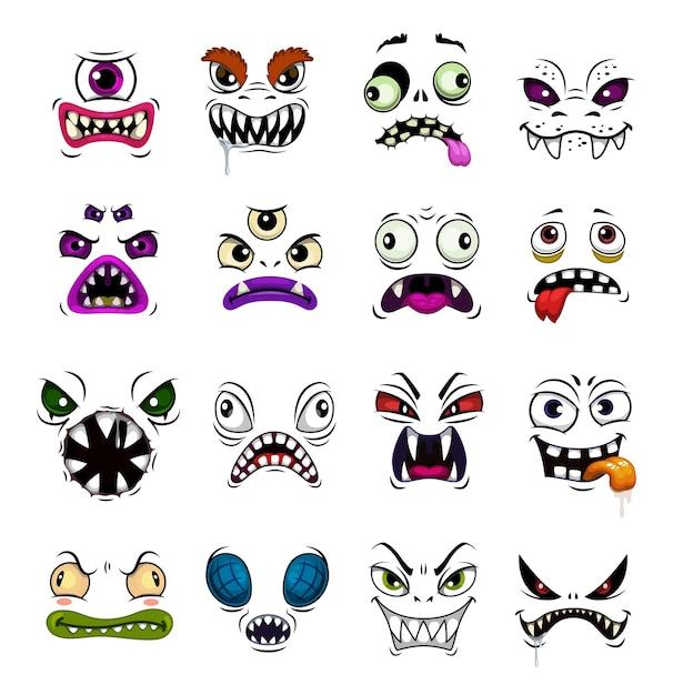 Cartone animato divertente emoticon faccia mostro. volti horror di zombi di halloween, demoni o fantasmi, diavoli, vampiri o bestie con emozioni diverse, avatar spaventosi con bocca aperta e occhi diabolici Vettore Premium