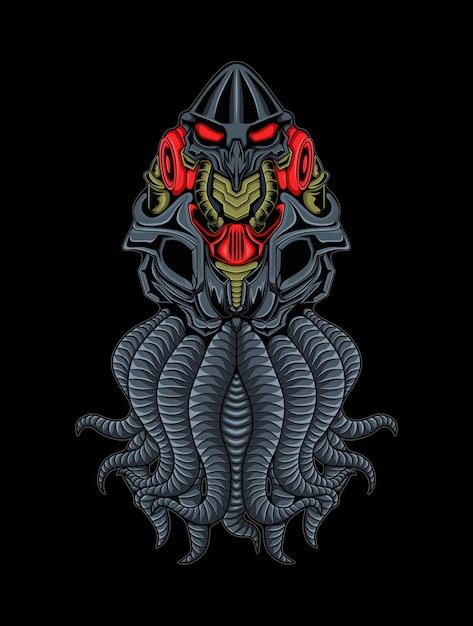 Monster octopus mecha illustration robot Vettore Premium