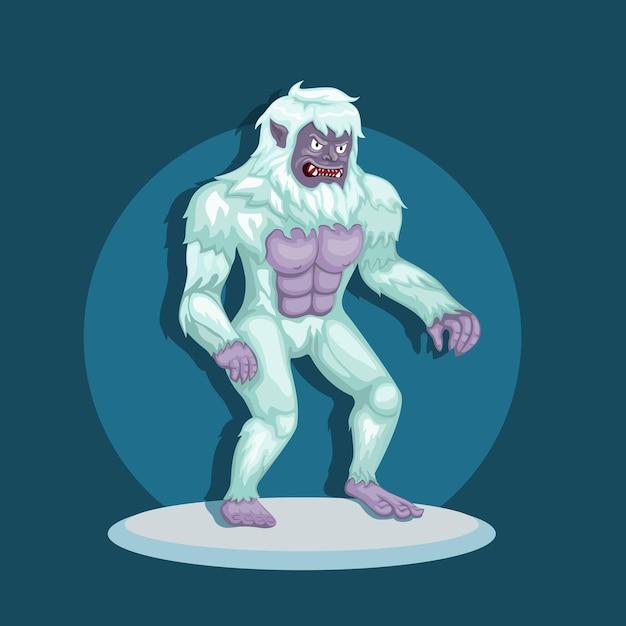 Monster yeti aka bigfoot nella neve. concetto di personaggio creatura mitologica nell'illustrazione del fumetto Vettore Premium