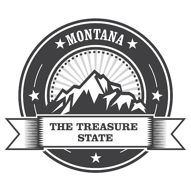 Montana mountains - etichetta del bollo treasure state Vettore Premium