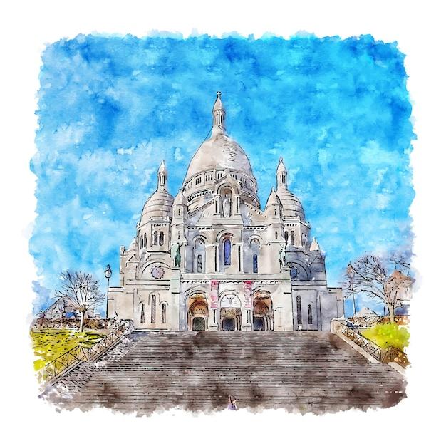 Illustrazione disegnata a mano di schizzo dell'acquerello di montmartre parigi francia Vettore Premium