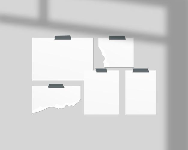 Modello di scheda dell'umore. fogli vuoti di carta bianca sul muro. mood board con sovrapposizione di ombre. modello di progettazione. Vettore Premium