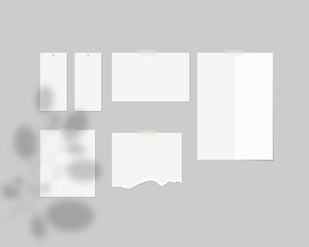 Modello di scheda di umore. fogli vuoti di carta bianca sul muro con ombra sovrapposta. . modello . illustrazione realistica. Vettore Premium