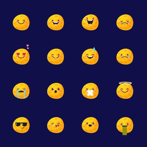 Set di icone di luna emoji Vettore Premium