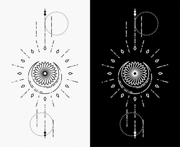 I tatuaggi geometrici della luna e dei fiori Vettore Premium