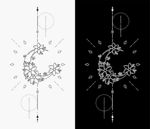 I tatuaggi geometrici della luna Vettore Premium
