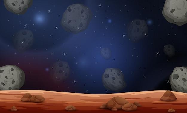 Scena della luna con illustrazione di asteroidi Vettore Premium
