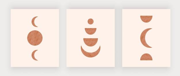 Stampe artistiche da parete luna con sole. poster di design boho della metà del secolo Vettore Premium