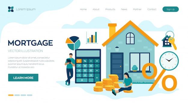 Pagina di destinazione del concetto di mutuo. prestito immobiliare o investimento in denaro per immobili. Vettore Premium