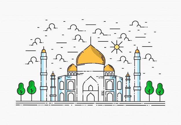 Moschea dal design semplice, ramadhan kareem Vettore Premium