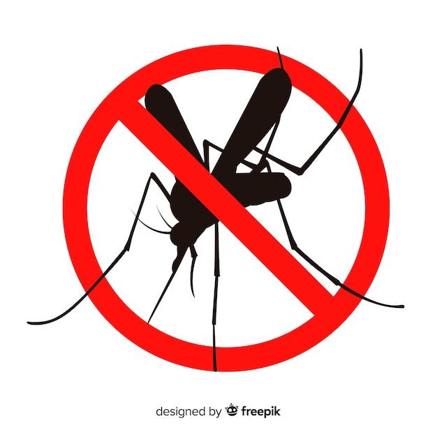 Segnale di avvertimento zanzara con design piatto Vettore Premium