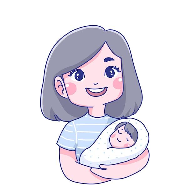 Illustrazione del fumetto del bambino e della madre Vettore Premium