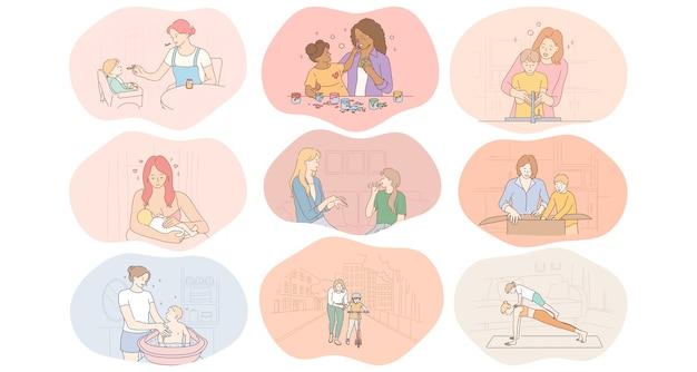 Madre e figlio, maternità, attività domestiche con il concetto di bambini. Vettore Premium