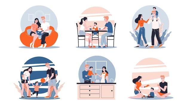 Set madre e bambino. raccolta di attività di famiglia. Vettore Premium