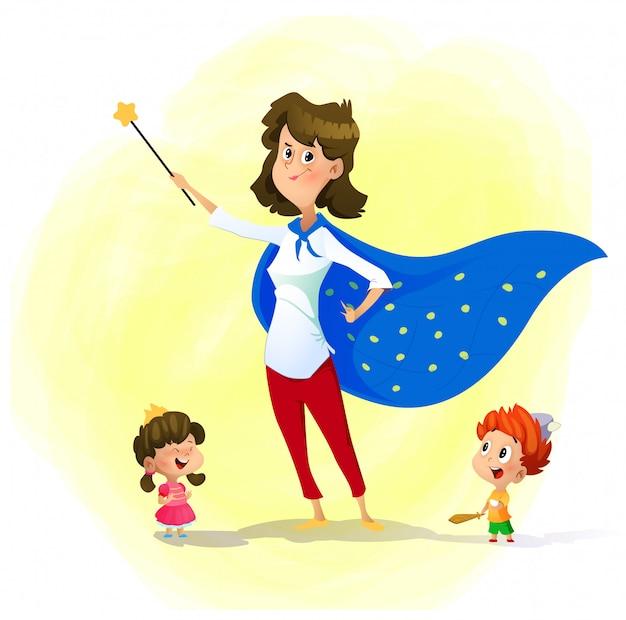La mamma e i suoi figli giocano a maghi. super mamma Vettore Premium