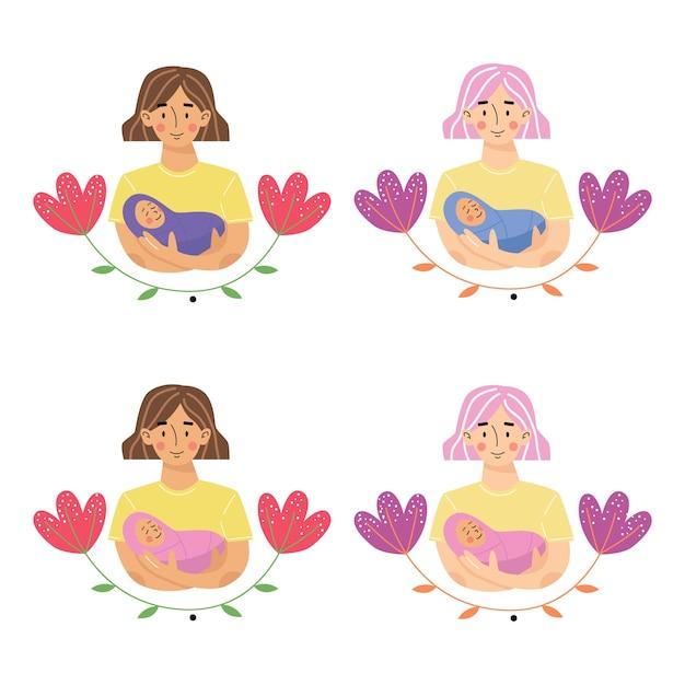 Madre che tiene bambino figlio o figlia in braccio. madre e figlio neonato o figlia. Vettore Premium