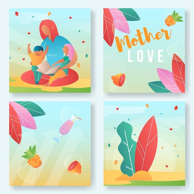 Insieme dell'illustrazione di amore di madre Vettore Premium