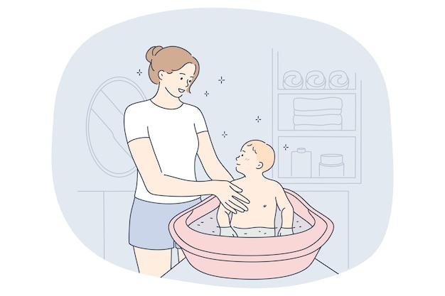 Madre e figlio, maternità, concetto di giorno di madri. personaggio dei cartoni animati di giovane donna madre positiva Vettore Premium