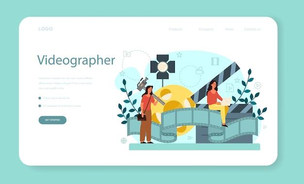 Motion o video er banner web o pagina di destinazione. l'artista crea animazioni al computer per progetti multimediali. editor di animazione, produzione di cartoni animati. Vettore Premium