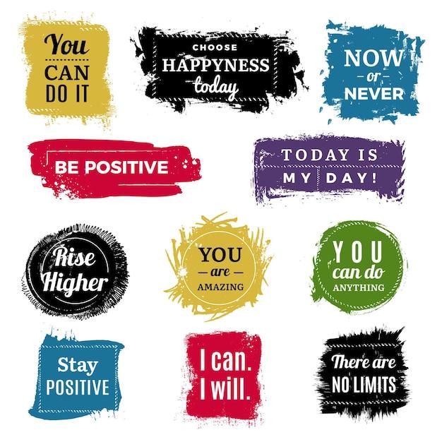 Distintivi di motivazione. etichette di vernice pennello inchiostro sfondo grunge con set di testo. l'illustrazione motiva il positivo disegnato a mano del titolo Vettore Premium