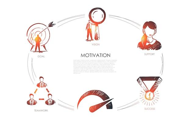 Motivazione, visione, supporto, successo, obiettivo, infografica sulle prestazioni Vettore Premium