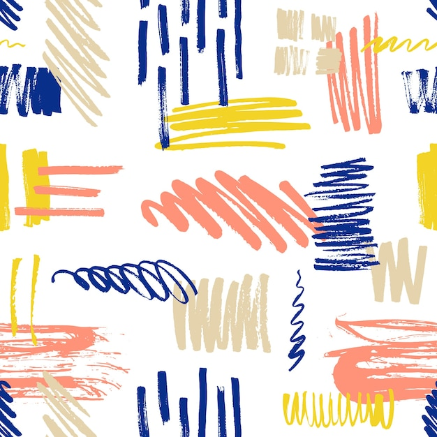 Motley seamless pattern con scarabocchi e macchie di vernice o macchie. Vettore Premium