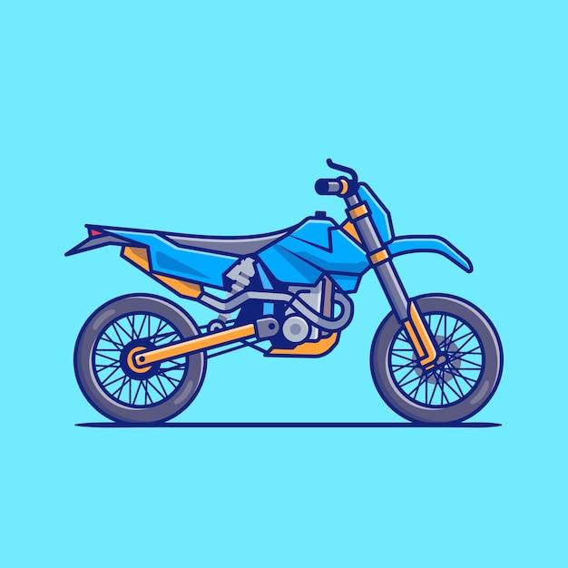 Illustrazione dell'icona del fumetto della bici di motocross. concetto dell'icona del veicolo del motociclo isolato. stile cartone animato piatto Vettore Premium