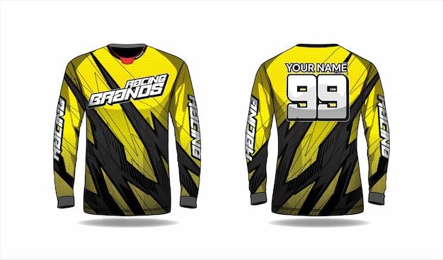 Modello di camicia da motocross, design in jersey da corsa Vettore Premium