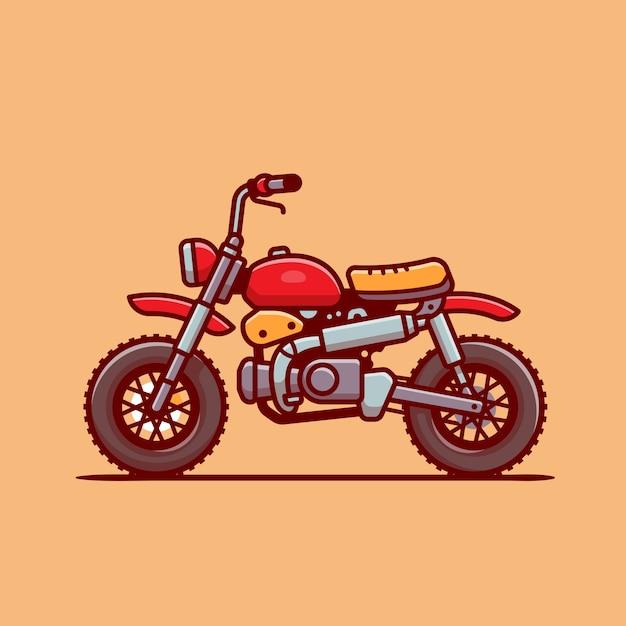 Llustration dell'icona del fumetto della motocicletta. concetto dell'icona del veicolo del motociclo isolato. stile cartone animato piatto Vettore Premium