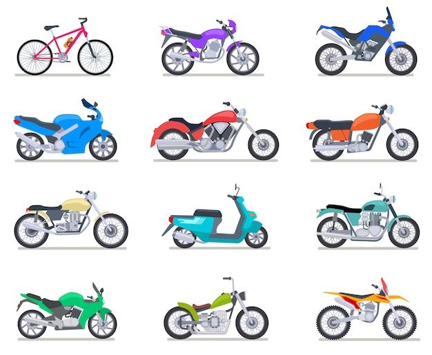 Set moto. moto e scooter, bici e chopper. icone di vettore di vista laterale di motocross e consegna veicoli retrò e moderni. illustrazione scooter e moto, chopper e moto sportiva Vettore Premium