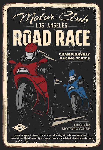 Poster retrò di moto club corsa su strada. corridori in caschi integrali che corrono su moto sportive Vettore Premium