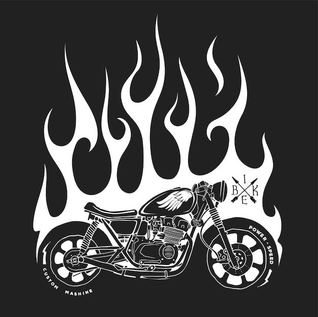 Stampa t-shirt moto e fuoco. Vettore Premium