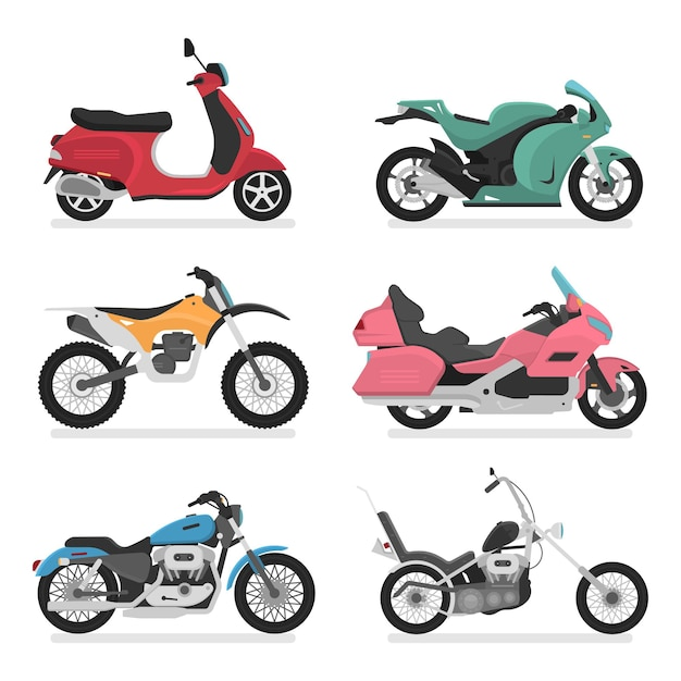 Modello di logo icona moto. vista laterale, profilo. stile cartone animato piatto. Vettore Premium